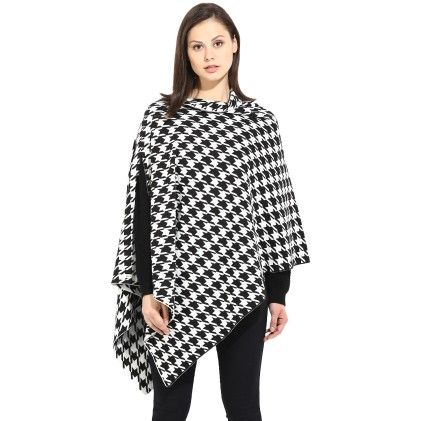 Carol - 100% Combed Cotton Black-ivory Poncho Top - Pluchi