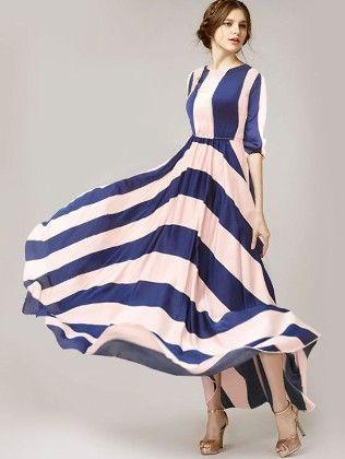 Blue White Round Neck Striped Maxi Dress - She In