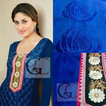 Semi Blue Georgette Semi Stitched - Trendy & Style