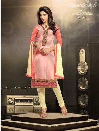 Touch Trends Pink Chanderi Cotton Silk Dress Material - Touch Trends Ethnic