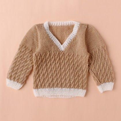 Light Brown V-neck Sweater - Knitting Nani