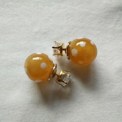 Yellow & White Dotted Earrings - Trendy And Style