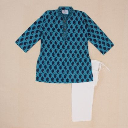 Cotton Kurta Pajama Set - Blue - Little Pockets Store/Pocket Fashion