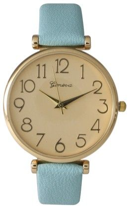 Light Blue Leather Strap Band Watch - Vernier Watches