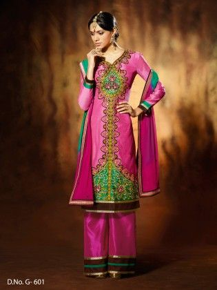 Chanderi Silk Pink Dress Material - Touch Trends Ethnic