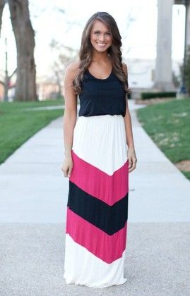 White And Black Maxi Dress - Oomph