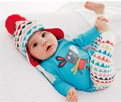 Blue Geometric Baby Set-sky Blue - Petite Kids