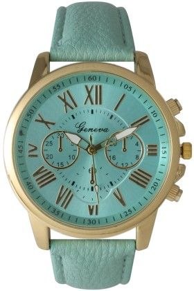 Leather Band Watch With Roman Numbers-mint - Vernier Watches