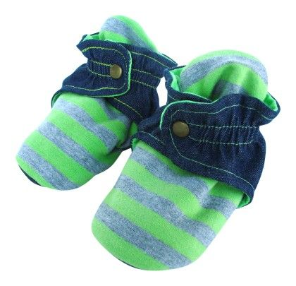 Trimfit Baby Boys Stripes Denim Booties With Clasp - Lime,denim Blue, Grey