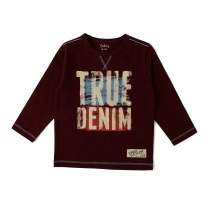 Long Sleeve T-shirt With Print - Maroon - Babeez