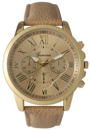 Leather Band Watch With Roman Numbers-cream - Vernier Watches