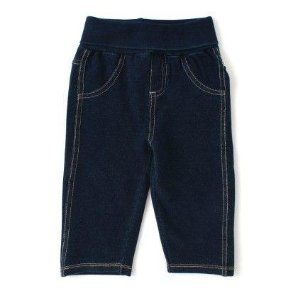Baby Boy Denim Pant With Folded Rib Waistband - Blue - Babeez