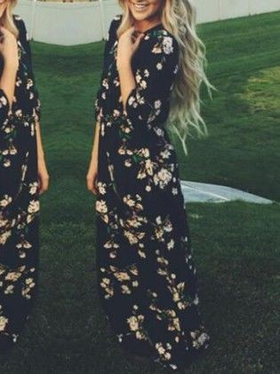 Navy Long Sleeve Floral Maxi Dress - She In
