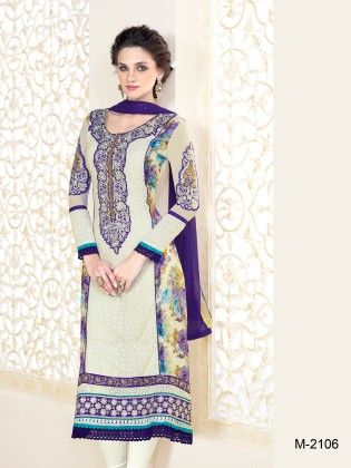 Touch Trends Off White Pure Georgette Dress Material - Touch Trends Ethnic