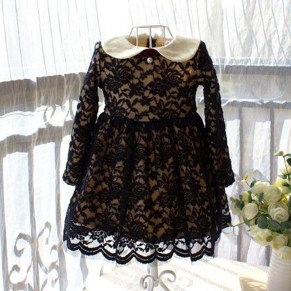 Black And Cream Fleece Dress - Petite Kids