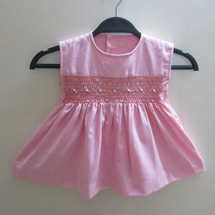 Baby Frock With Rose Design Smocking - Angel Closet