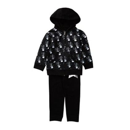 Rock Star  Black Baby Hooded Sweat Suit - Silly Souls