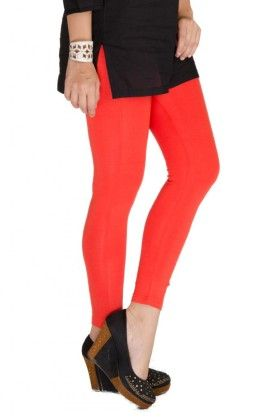 Ankle Length Leggings Solid Lycra Rust Orange - De Moza