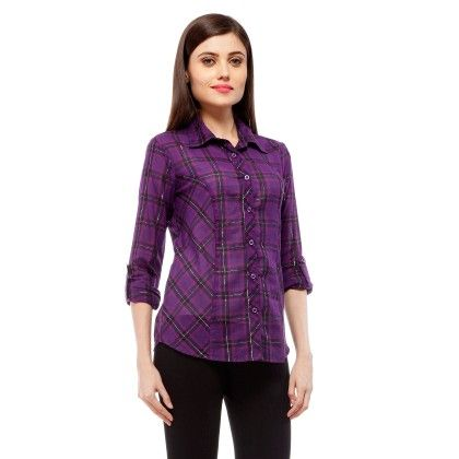 Purple And Black Check Shirt With Silver Lurex - StyleStone