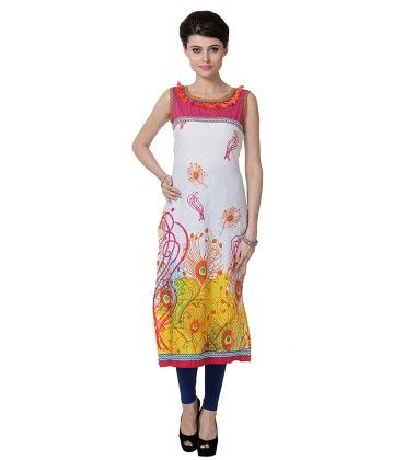 White And Yellow Printed Kurti - Riti Riwaz