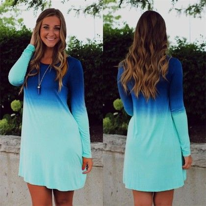 Ombre Blues Short Dress - Oomph