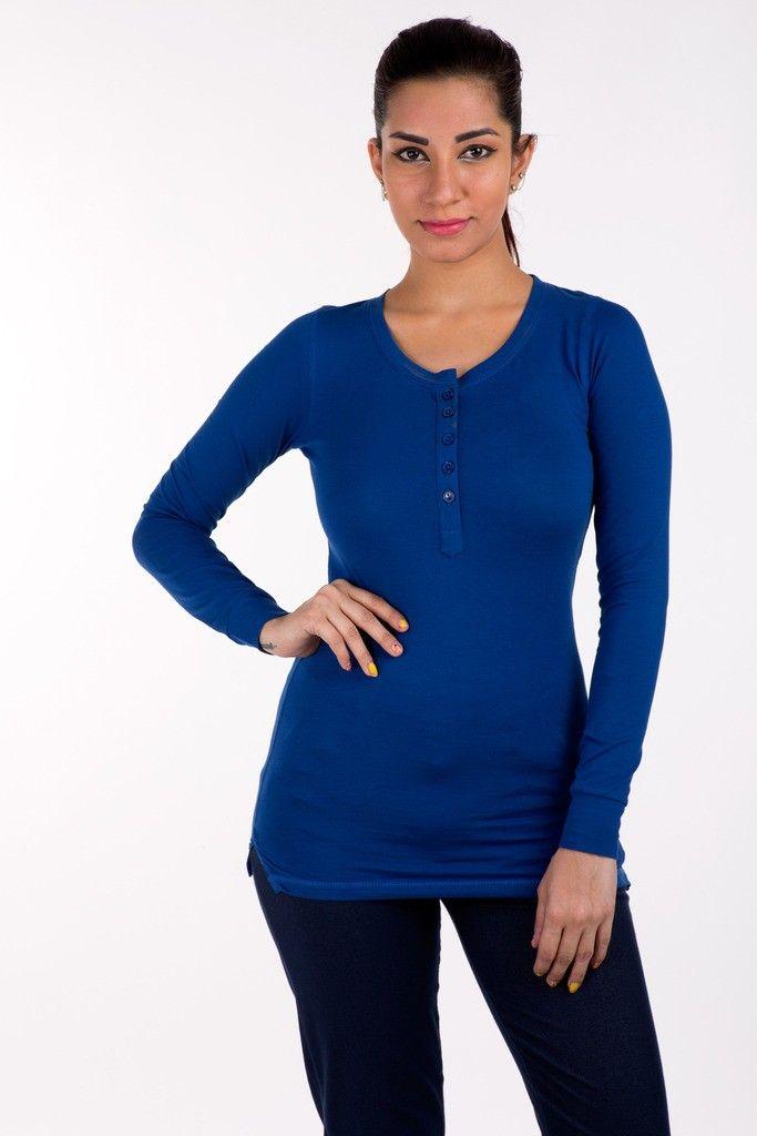 Full Sleeve Tops Solid Cotton Lycra Royal Blue - De Moza