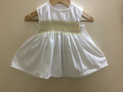 White Baby Frock With Diamond Design Smocking - Angel Closet