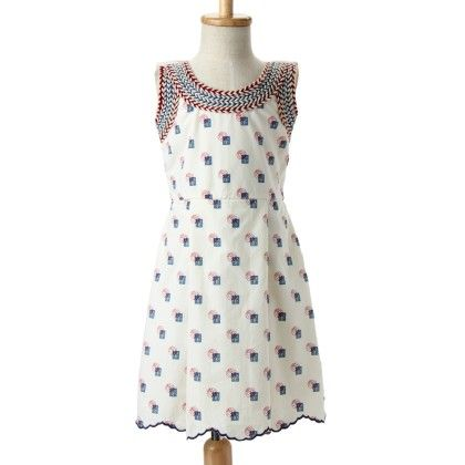 Marshmallow Cotton Dress With Cotton Lycralining White