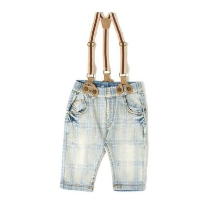 Check Blue Washed Suspender Jeans - Elves & Fairies