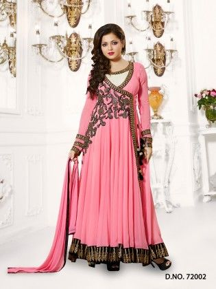 Pink- Georgette Dress Material - Touch Trends Ethnic