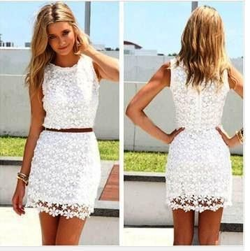 New Design Lace Hollowed Perspective White Skirt - Dell's World