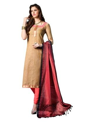 Beige Exclusive Dress Material With Bhagalpuri Silk Fancy Dupatta - Riti Riwaz