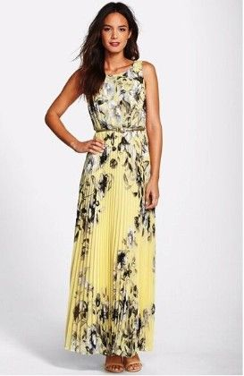Elegant Round Neck Floral Print Long Prom Yellow Dress - Dell's World