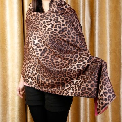 Brown Leopard Print Scarf - Glaze
