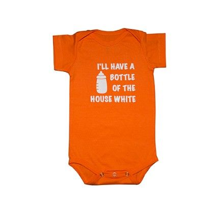 White And Orange Cotton Onesies (set Of 2) - PlanB