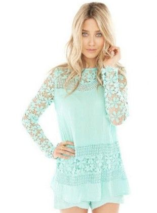 Blue Lace Top - Drape In Vogue