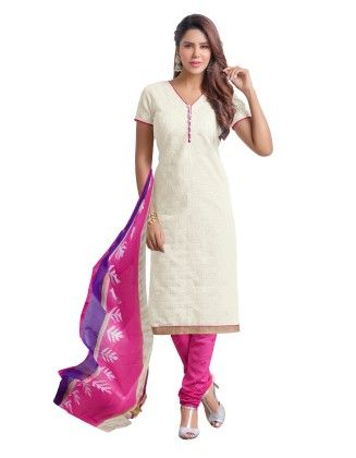 Off White Exclusive Chanderi Printed Dress Material With Matching Dupatta - Riti Riwaz