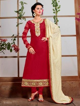Maroon Satin Dress Material - Touch Trends Ethnic