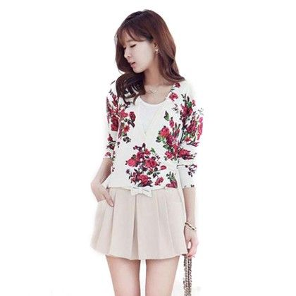 White Floral Printed Cardigan - Violette