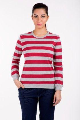 Sweat Shirts Tops Printed Melange With Pink - De Moza