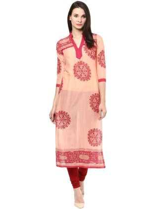 Beige And Red Shine Printed Kurti - StyleStone