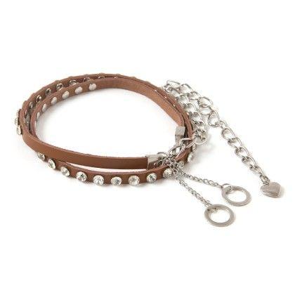 Metal Belt Brown With Diamonds - Ribbon
