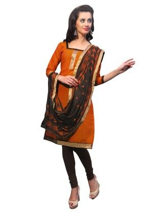 Orange Exclusive Dress Material With Embroidery Fancy Dupatta - Riti Riwaz