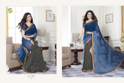 Blue Half Floral Saree - Afreen