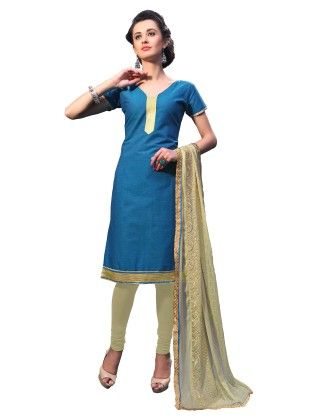 Blue Exclusive Dress Material With Embroidery Fancy Dupatta - Riti Riwaz