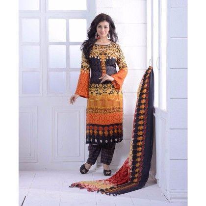 Madhubala Printed Multicolour Semi Stitched - Orange And Black - Haseen