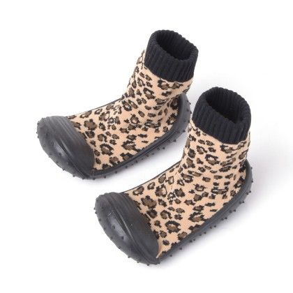 Finger Hard Cover Booties Black With Leopard Print - Janya