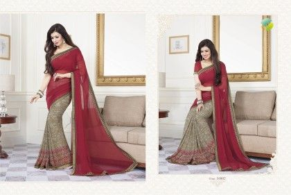 Red Half Printed Saree - Afreen