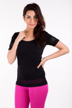 Short Sleeve Tops Solid Cotton Black - De Moza - 236258