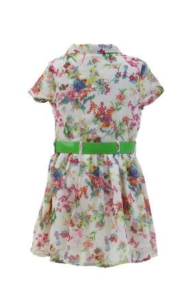 Ivory-green Georgette Floral Printed Dress - Magic Fairy